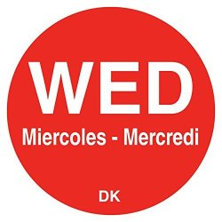 "DayMark IT1143923 ""wed"" Duramark Trilingual Permanent Label 3 4"" Circle Red 1000 Per Roll"