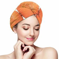 Microfiber Hair Towel Wraps For Women Quick Dry Hair Cap With Button - Red Asian Gac Fruit Baby Jackfruit Cochinchin Gourd Spiny