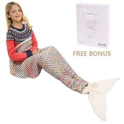 AmyHomie Mermaid Tail Blanket Mermaid Blanket Adult Mermaid Tail Blanket Crotchet Kids Mermaid Tail Blanket For Girls Kids White