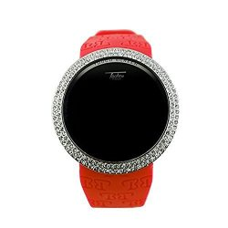 Techno Pave Iced Out Bling Lab Diamond Silver Red Digital Touch Screen Sports Watch Rubber Band