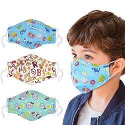 Aniwon 3PCS Mouth Cover Kid Cotton Mask Cute Cartoon Breathable Kid Face Mask Cycling Mask