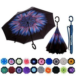 MRTLLOA Double Layer Inverted Umbrella With C-shaped Handle Anti-uv Waterproof Windproof Straight Umbrella For Car Rain Outdoor
