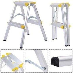 Apontus 2 Step Aluminum Ladder Folding Platform Work Stool 330 Lbs Load Capacity