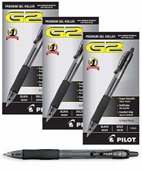 Pilot G2 Retractable Premium Gel Ink Roller Ball Pens Bold Pt 1. 3 Dozen Black Retractable Refillable & Premium Comfort Grip Smooth Lines To