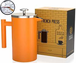 Stainless Steel French Press With Thermometer - Insulated French Press Coffee Maker - 1.0L 34 Fl Oz Orange