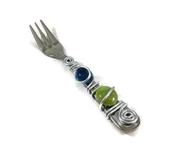 Wire Wrapped Cocktail appetizer Fork With 2 Cabochon Marbles