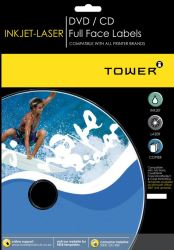 Tower W228 Cd Label For Cd Labeller Inkjet-laser Labels - Box Of 100 Sheets