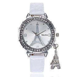 POTO Women Quzrtz Watches On Quartz Women Watches Rose Patter Luxury Casual Numeral Alloy Leather Analog Quartz Wrist Watches For Ladies Clearance White