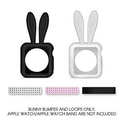 Bling My Thing Apple Watch 38MM 2 Soft Silicone Honey Bunny Protective White And Black Bumper Cases