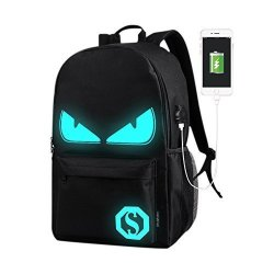Etbotu Student Knapsack With USB Charging Port And Luminous Pattern Waterproof & Breathable