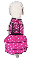 Surflife Wear Inc Up-collection Cutie Pinky Polka Dot Corset Dress For Pets Xx-small