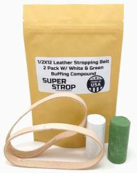 1 2X12 Inch 2 Pack Leather Honing Polishing Belt Super Strop With White And Green Compound Fits Original Work Sharp
