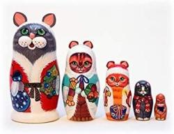 USA Christmas Cats Nesting Doll 5PC. 5
