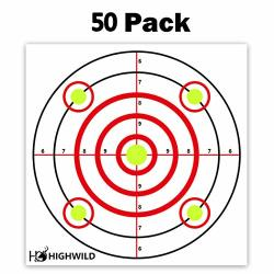 Highwild Paper Targets - 50 Pack - 10 X 10 - Multi Color - Bullseye Shooting Fits Bullet Traps Metal Box Bb Catcher Target