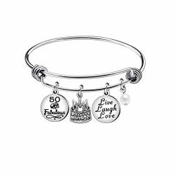 Niceter 13TH 18TH 21ST 30TH 40TH 50TH 60TH Birthday Gifts For Women Girls Adjustable Bracelet Bangle Stainless Steel Jewelry 50 Years Old