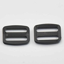 "Micoshop 100 Pcs 1"" 25MM Adjustor Triglides Slides For Buckles Leather Strap Belt Webbing Black"