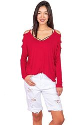 Pink Ice Women's Cold Shoulder Long Sleeve Top Small Passion Red