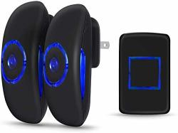 Wireless Door Bell Adoric MINI Waterpoof Doorbell Chime Operating At 1000 Feet With 36 Melodies 4 Volume Levels & LED Flash - Black