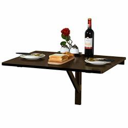 Espresso Color Wall Mounted Drop Leaf Table Folding Kitchen Dining Table Desk Working Laptop Table U.s. Stock