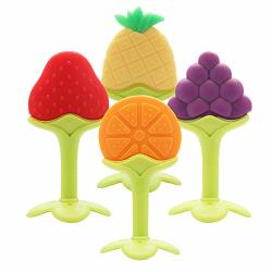 Flyusy Baby Teether Toys 4 Pack - Soft Silicone Fruit Teething Toys Set For Toddlers & Infants Baby Gum Massager
