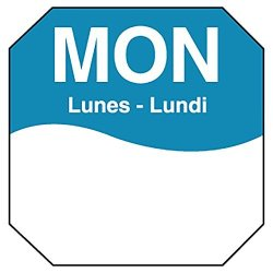 "DayMark Safety Systems Daymark IT1100601 Movemark Day Of The Week Removable Octagonal Label Monday 1"" X 1"" Blue Roll Of 1000"