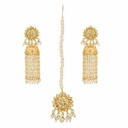 b3406c8bc1c9b Jwellmart Indian Bridal Wedding Kundan Faux Pearl Maang Tikka Jhumka Jhumki  Earrings Set For Women And Girls Gold | R1285.00 | Fancy Dress & Costumes  ...