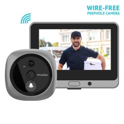 LaView Wireless Video Doorbell Wi-fi Door Bell Camera Peephole Camera With LED Touch Screen Wire-free rechargeable Battery night
