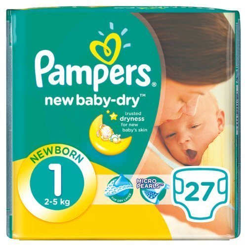 Pampers New Baby 27 Nappies Size 1 Carry Pack
