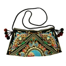 BTP Hmong Bag Swingpack Hill Tribe Ethnic Embroidered Sling Crossbody Hippie Hobo Shoulder Purse Black HMSP9