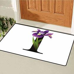 Relaxbear Letter I Inlet Outdoor Door Mat Abc Concept Floral Typography With I Silhouette And Iris Flowers Spring Catch Dust Snow And Mud W31.5