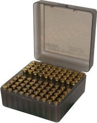 Mtm 100 Round Flip-top Rifle Ammo Box Medium Clear Smoke