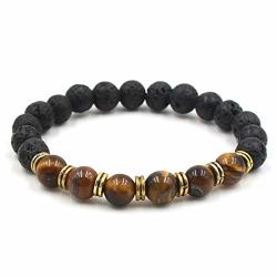 JEWH 9 Colors 8MM Black Lava Stone Beads Bracelets Diy Aromatherapy Essential Oil Diffuser Bracelets White Green Stone Strand Jewelry F