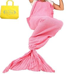 Sun Cling Mermaid Tail Blanket Crochet For Adult Teenagers Living Room Bedroom Sofa Super Soft Blankets Sleeping Bags-pink