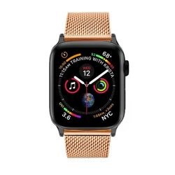 Colton James Mesh Strap For Black space Grey 44MM Apple Watch - Rose Gold