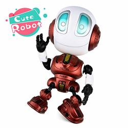 Broadream Robot Toys For Kids MINI Robot Talking Toys For Boys And Girls- Travel Toys Help Toddlers Talking For Christmas Stocking Stuffers LED Lights