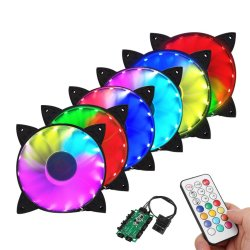 3 Pack LTC LitSun 120mm RGB LED Computer PC Case Fan Cooling Cooler Silent