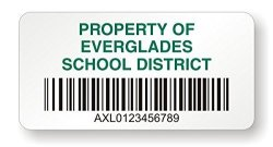 "MyAssetTag Quickcode Bar Code Vinyl Labels 1"" X 2"" Voidalert Barcode Labels Polyester 50 Labels pack"
