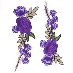 4U-LUCKY Embroidered Floral Appliques Rose Flower Iron On Patches For Collar Bust Dress Bag 11 X 3.93 Inch Purple