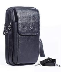 Leather Vertical Men Cellphone Belt Loop Holster Case Belt Waist Bag MINI Travel Messager Pouch Crossbody Pack Purse Wallet With