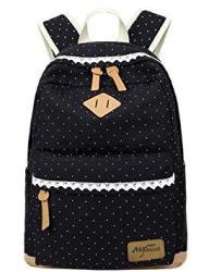 Mygreen Lightweight Leisure Dot 14 Inch Laptop Backpacks Cute Girls Canvas School Backpack Book Bags Black
