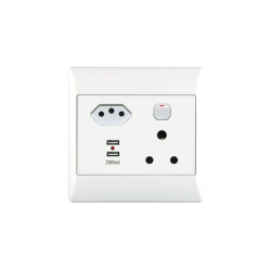 1X16A 1 Euro USB Socket Outlet 4X4 With White Cover