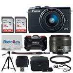 Canon Eos M100 Mirrorless Digital Camera Black + Ef-m 15-45MM F 3.5-6.3 Is Stm Lens Graphite + 32GB Memory Card + 49MM Uv Filter