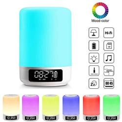Night Light Bluetooth Speaker Touch Sensor Bedside Table Lamp With Digital Alarm Clock LED Color Changing Portable MP3 Player Gi