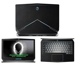 "Decalrus - Protective Decal For 2015 Alienware 13 13.3"" Touch Screen Laptop Black Texture Snake Pattern Skin Skins Case Cover Wrap SNK2015ALIENWARE13BLACK"