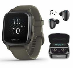 Garmin Venu Sq Music Gps Best Multisport Fitness Smartwatch Moss slate With WEARABLE4U Black Earbuds With Charging Power Bank Case Bundle