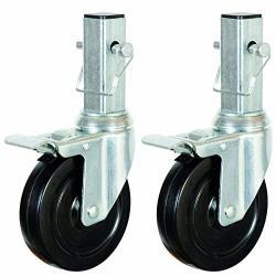 """CBM Scaffold 2PCS Heavy-duty 5"""" For 6 Ft. Baker Scaffold Wheel Hard Rubber Locking Caster"""
