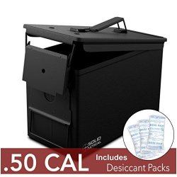 Solid Tactical New 50 Cal Metal Ammo Can - Military & Army M2A1 Steel Waterproof Ammunition Box For Long Term Storage In Black