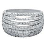 No Brand - Silver Cz 6 Band Dress Ring DA324