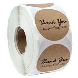 """Sblabels 1.5"""" Round Kraft Thank You For Your Business STICKERS 500 Labels Per Roll"""