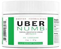 Uber Numb 5% Lidocaine Topical Anesthetic Cream Advanced Formula Rapid Absorption Non-oily 2 Ounce Cr